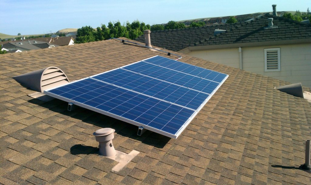 solar array on residential rooftop