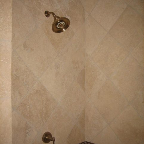 A Diagonal Layout With Two Accent Bands In Huge Shower The Tile Grout King Installed This