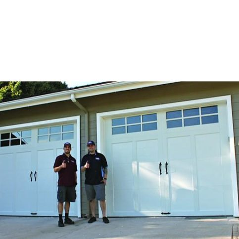 Etonnant Two Door Pros Technicians Stand In Front Of A Recently Finished Garage Door  Installation.