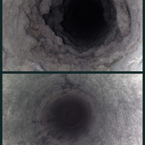 a before and after shot of a dryer vent cleaning job duct cleaning jobs