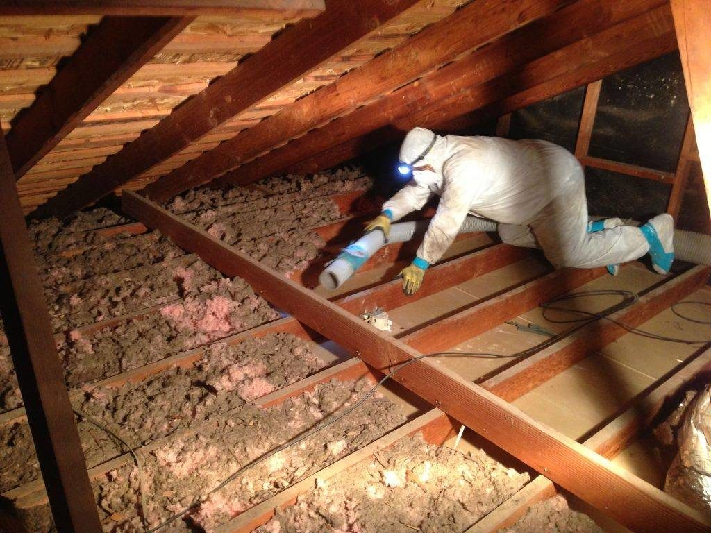 Atticare technician working in attic