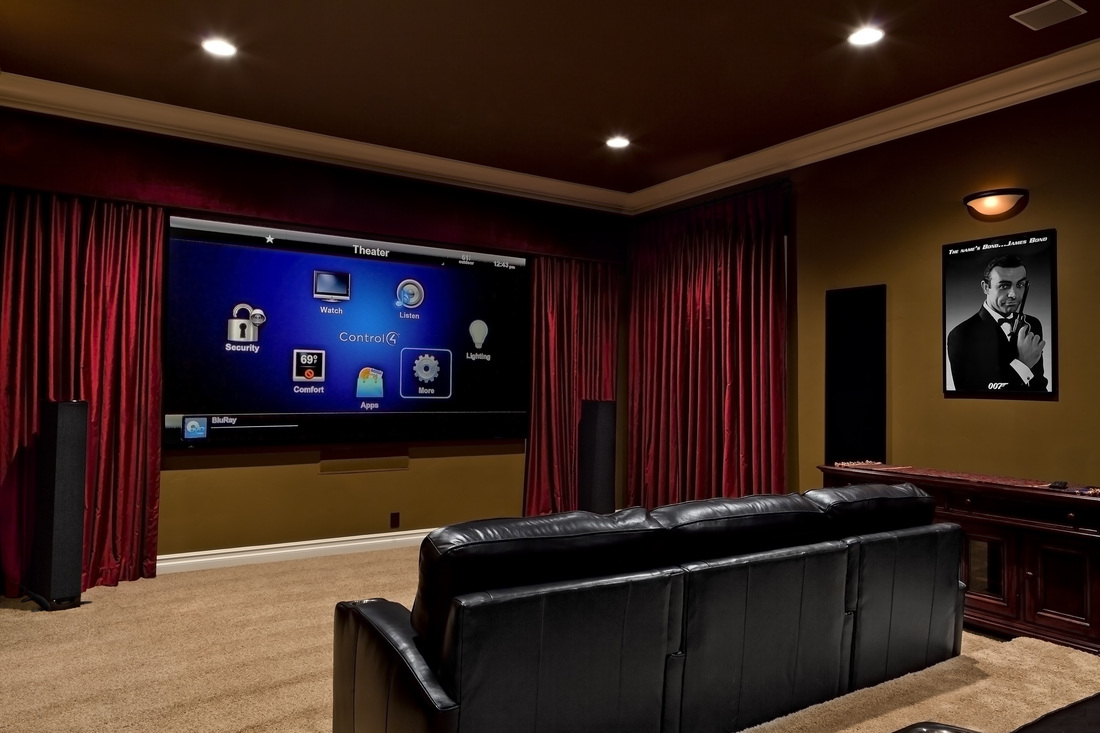 home theater with curtains