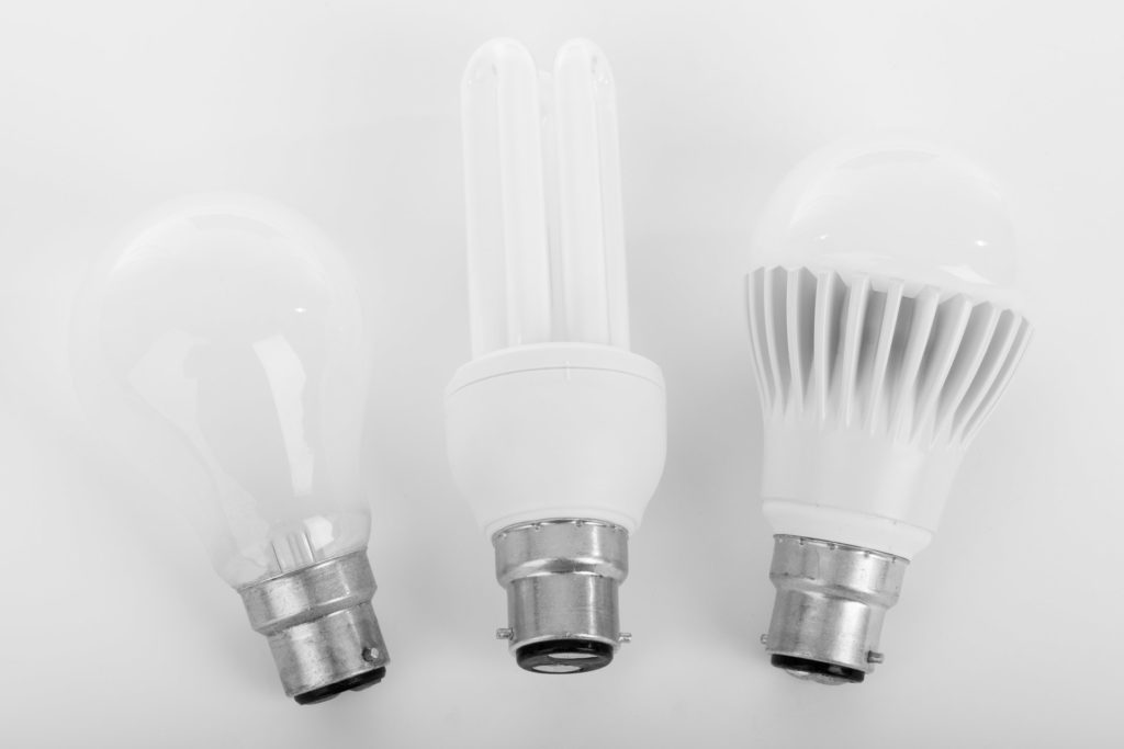 incandescent compact flourescent and LED light bulbs
