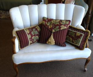 reupholstered antique couch white with cushions