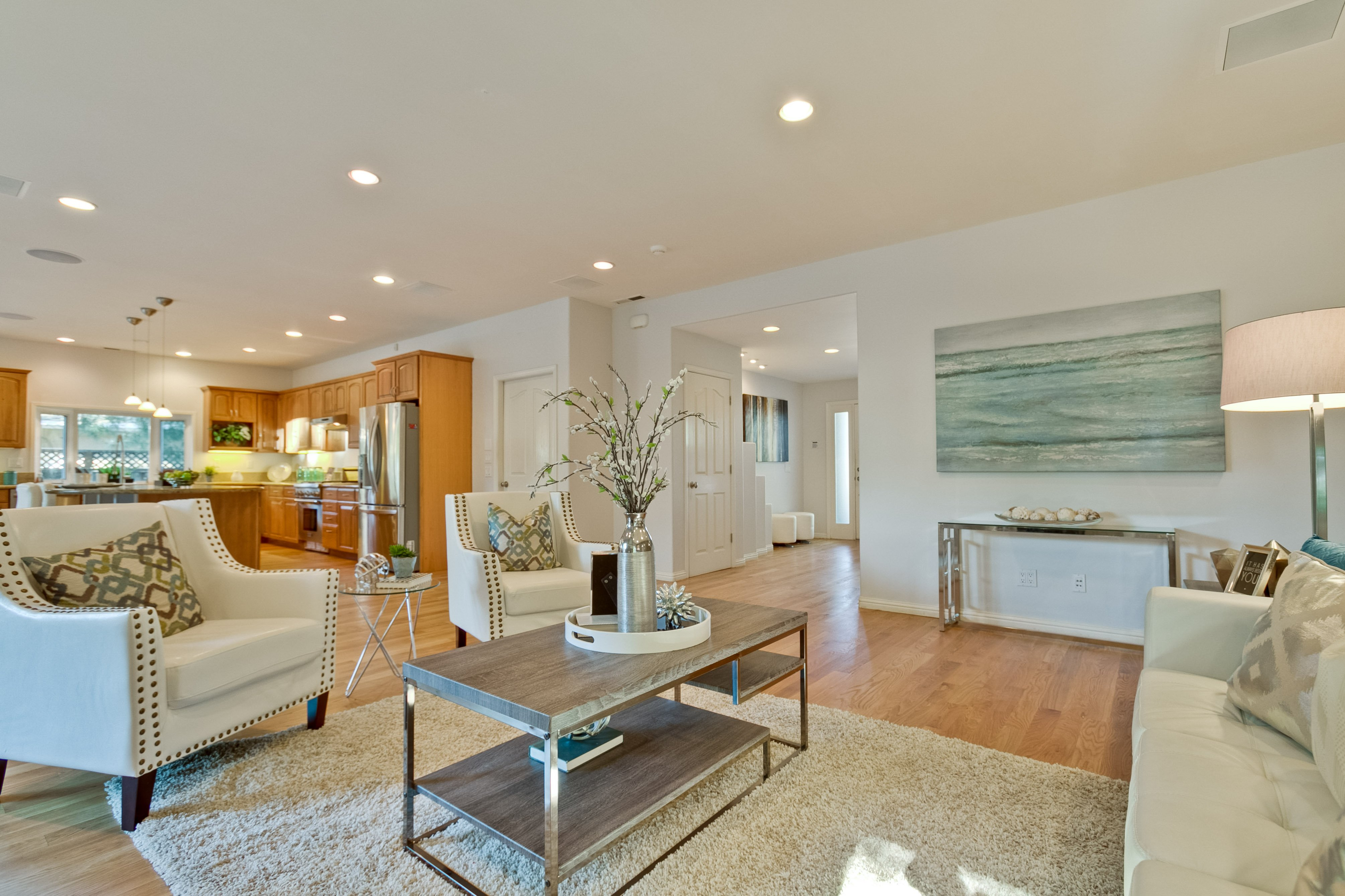 staged living room in real estate property