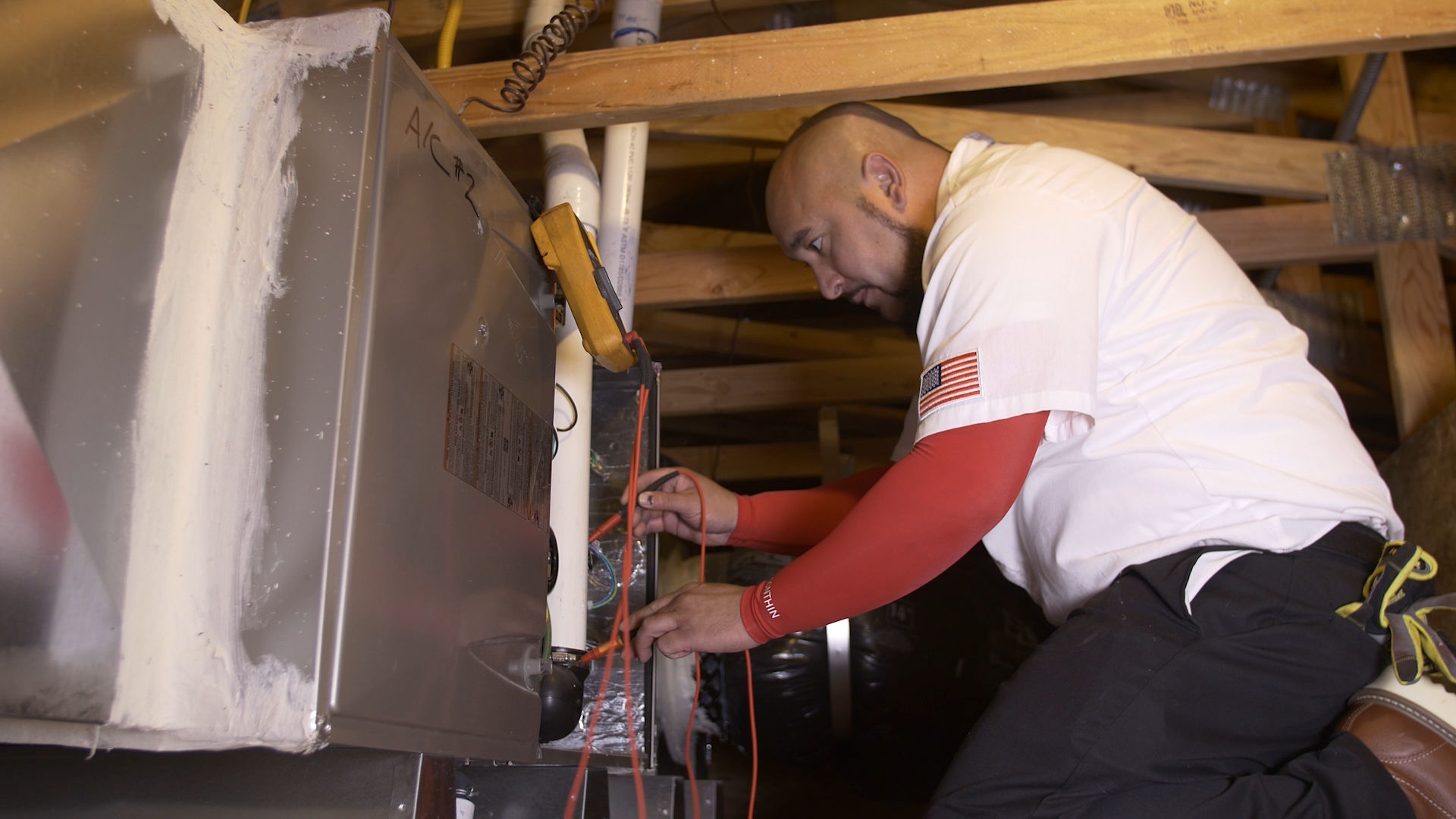 hvac technician performing inspection