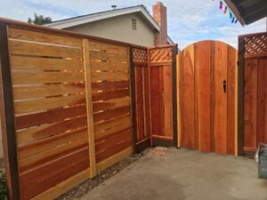 redwood fence and entry gate