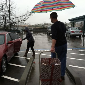 Ashley and Ian make sure the tuna and low-sodium soups stay dry.