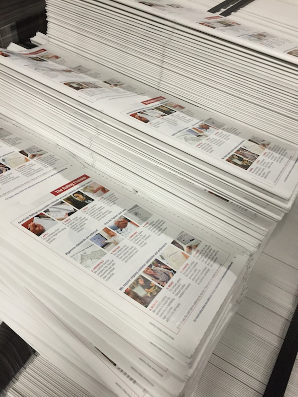 Directory prints up-close. Do these colors look correct to you? Photo: American Ratings Corporation